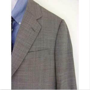 Canali Gray w Blue Plaid Wool 2 btn Blazer - 52